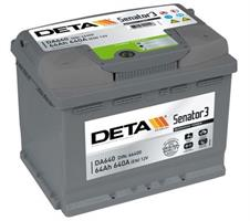 DA640 Аккумулятор DETA SENATOR3 12 V 64 AH 640 A ETN 0(R+) B13 242x175x190mm 16.4kg