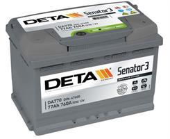 DA770 Аккумулятор DETA SENATOR3 12 V 77 AH 760 A ETN 0(R+) B13 278x175x190mm 18.6kg