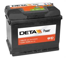 db620 Аккумуляторная батарея DETA 190X242X175 Ток хол. прокрутки 540 A Емкость батареи 62 А/ч