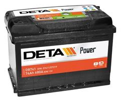 db741 Аккумуляторная батарея DETA 190X278X175 Ток хол. прокрутки 680 A Емкость батареи 74 А/ч