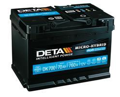 DK700 Аккумулятор DETA MICRO-HYBRID 12 V 70 AH 760 A ETN 0(R+) B13 278x175x190mm 20.9kg
