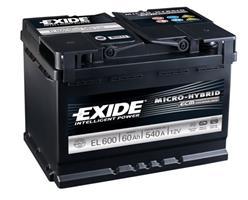 el600 Аккумуляторная батарея EXIDE 190X242X175 Ток хол. прокрутки 640 A Емкость батареи 60 А/ч